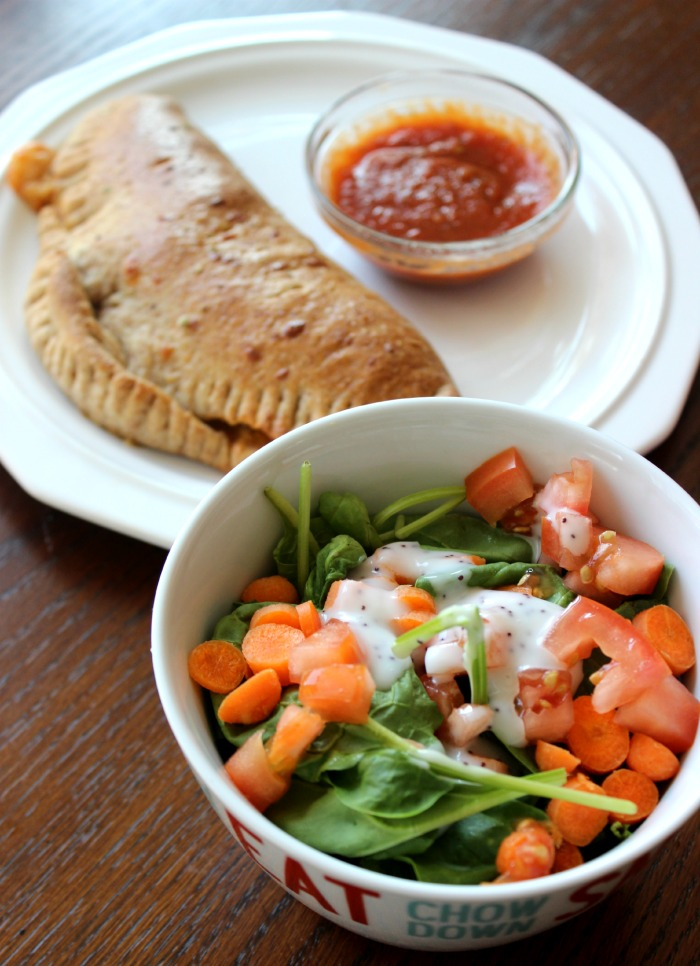 salad and calzones - easy dinner
