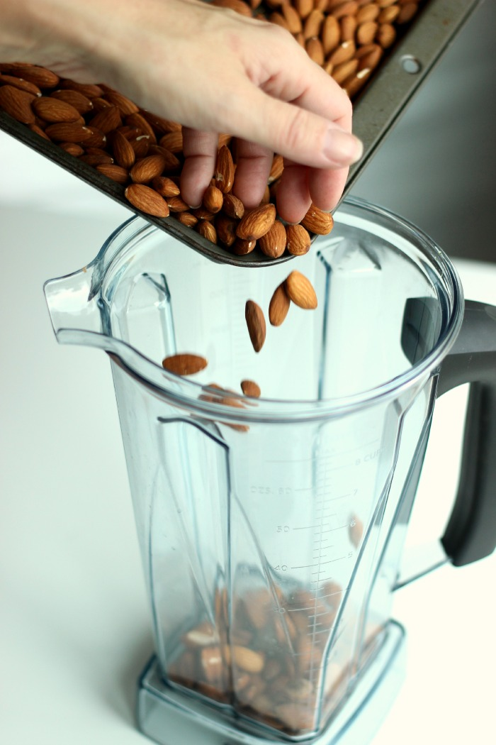 adding almonds to vitamix
