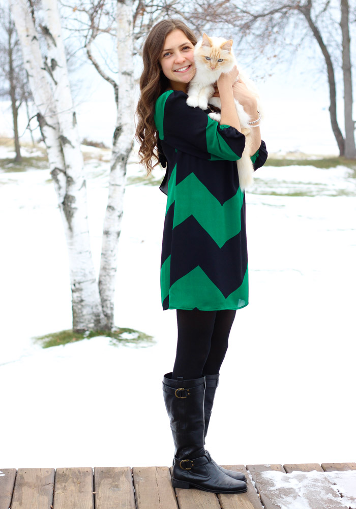 Chevron Shift Dress and Black Boots