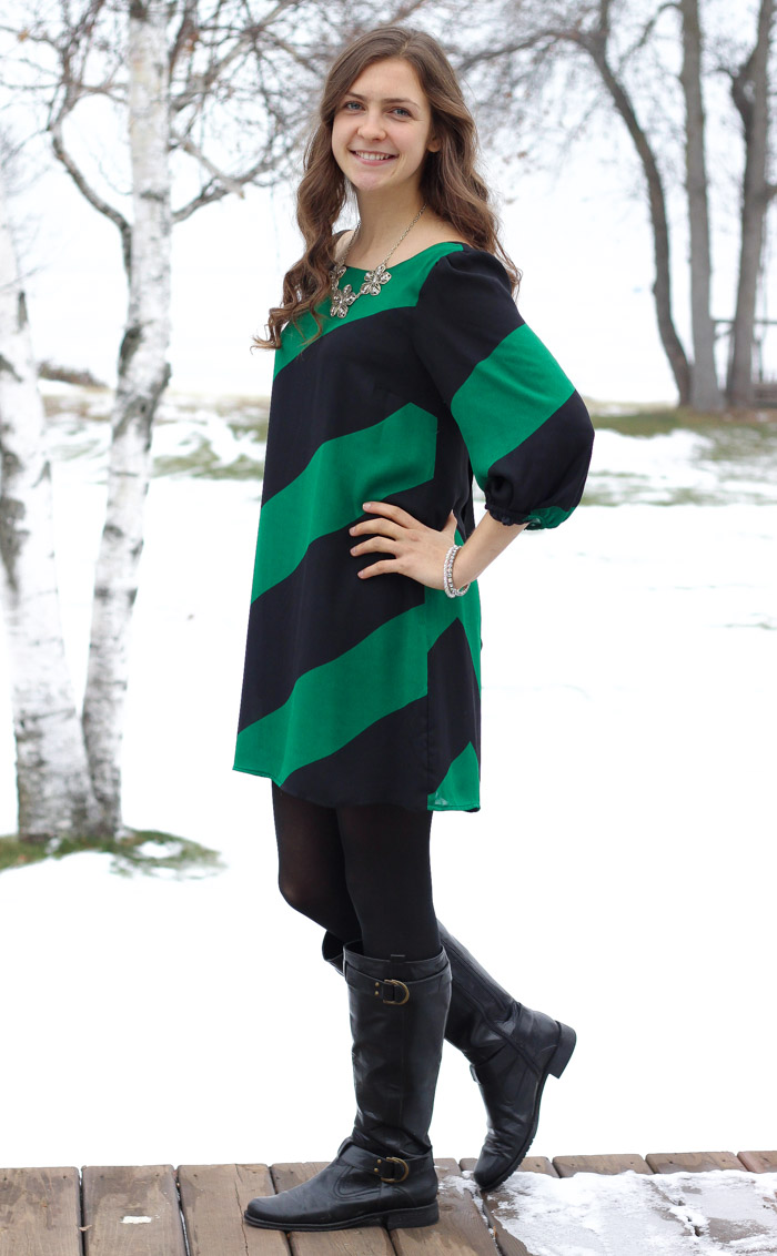 chevron dress and black boots