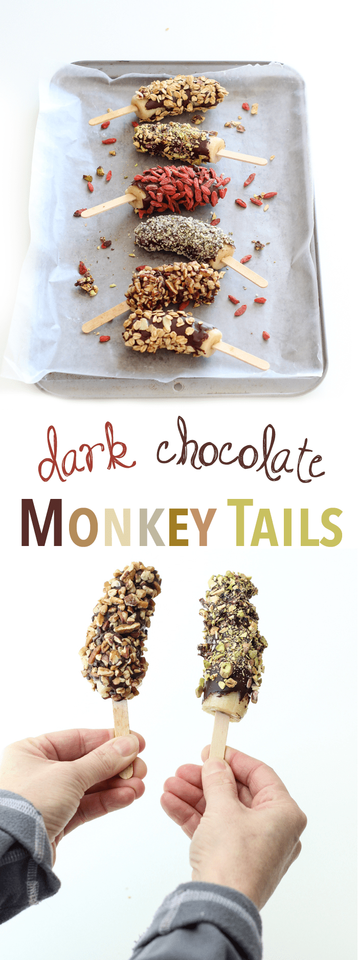 Super snack - Monkey Tails - frozen bananas dipped in dark chocolate and rolled in a ton of superfood toppings!