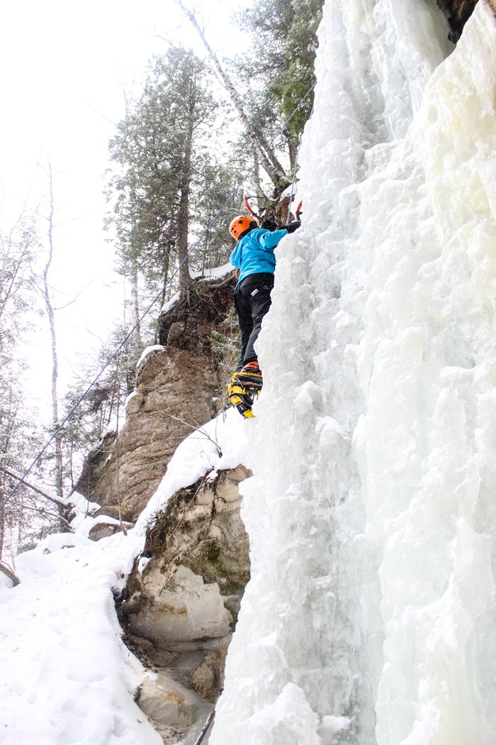 leigha ice climbing