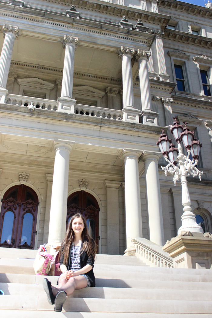 leigha sitting in front of capitol