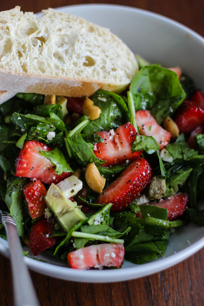strawberry avocado cashew avocado salad
