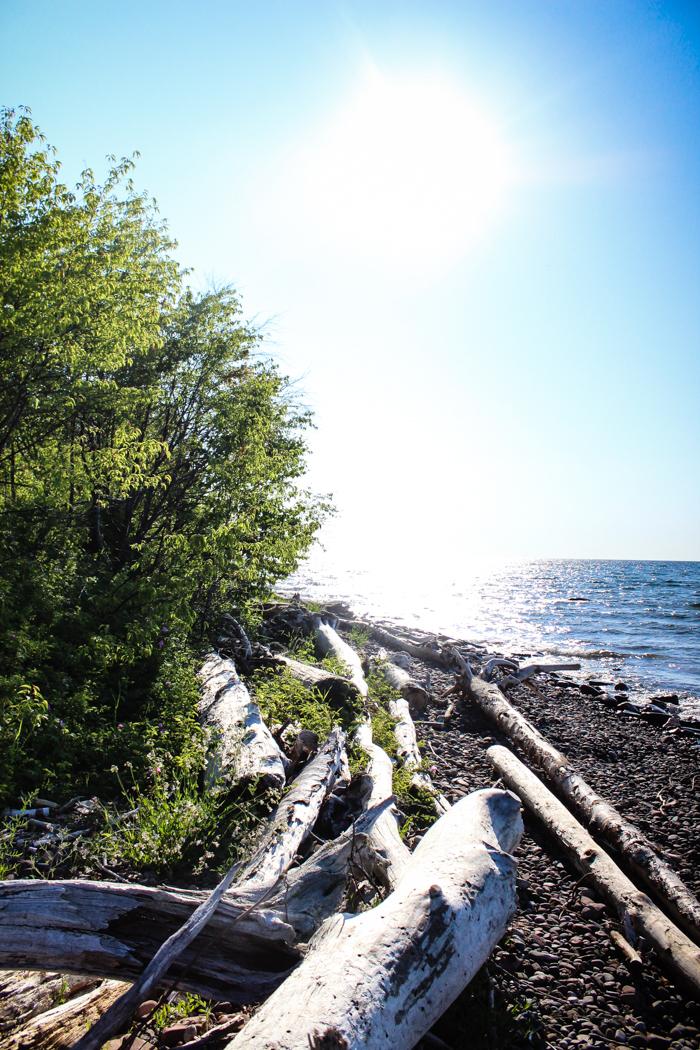 beautiful lake superior rock beach