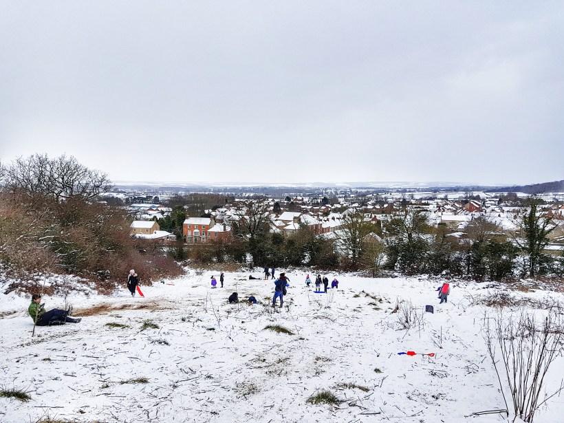 snow scene Yorkshire sledging