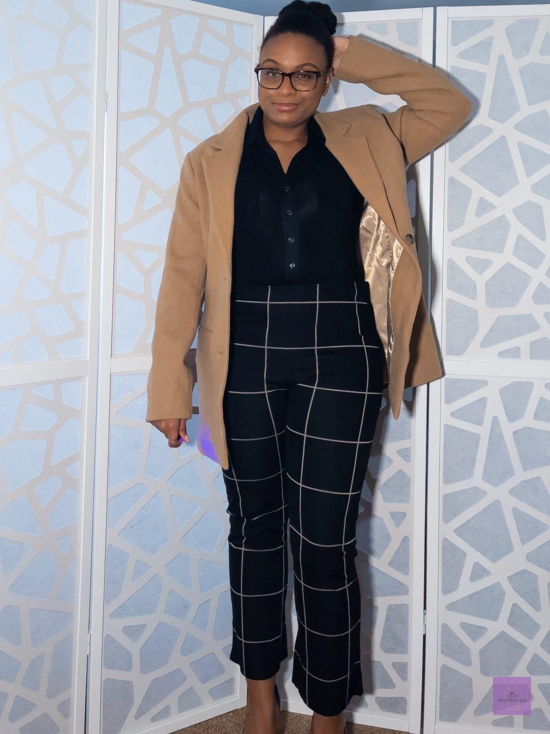 Blazer with beige pinstripes pants