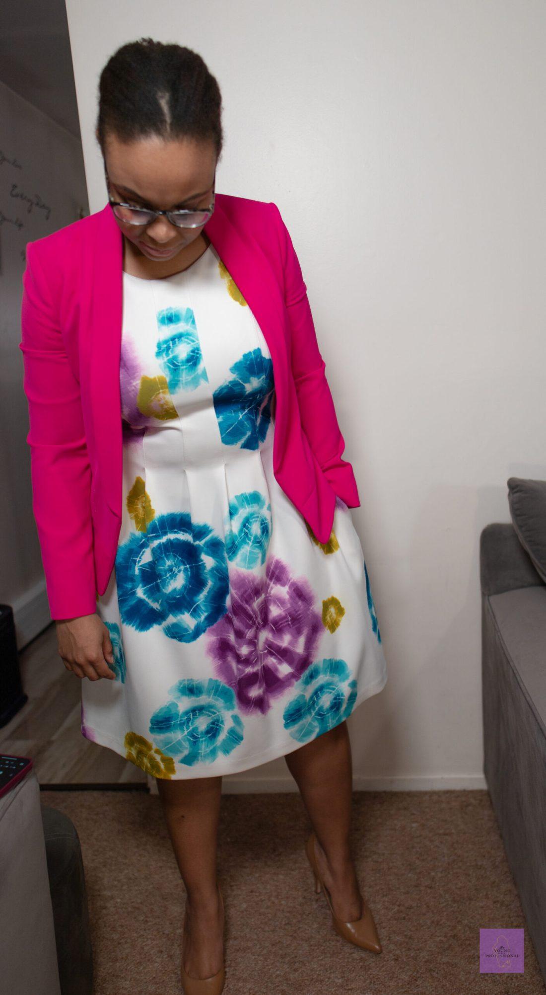 summer workwear floral dress 7