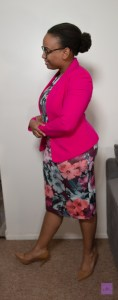 hot pink blazer with floral dress
