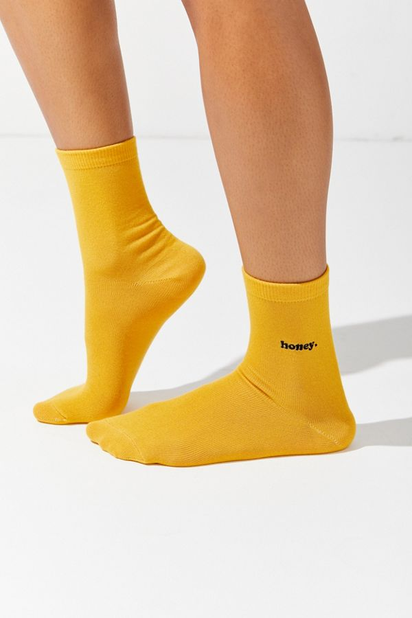 urban outfitters yellow honey socks quirky cute accessories valentine's day