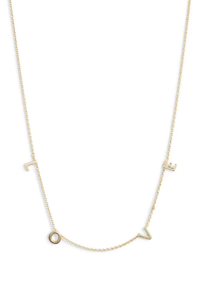 nordstrom gold necklace love sweet quirky cute accessories jewelry valentine's day gift accessories fashion style