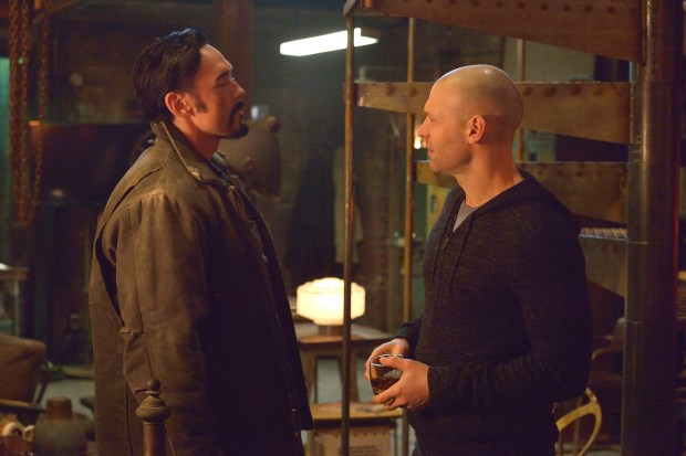 """THE STRAIN -- """"The Born"""" -- Episode 207 (Airs August 23, 10:00 pm e/p) Pictured: (l-r) Kevin Durand as Vasiliy Fet, Corey Stoll as Ephraim Goodweather. CR: Michael Gibson/FX"""