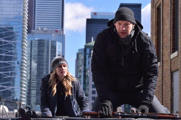 "THE STRAIN -- ""The Assassin"" -- Episode 210 (Airs September 13, 10:00 pm e/p) Pictured: (l-r) Ruta Gedmintas as Dutch Velders, Corey Stoll as Ephraim Goodweather. CR: Michael Gibson/FX"