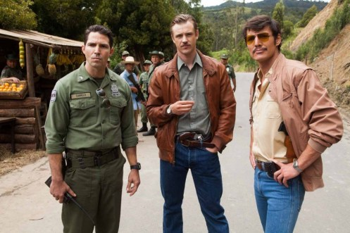 "(L to R) MAURICE COMPTE, BOYD HOLBROOK and PEDRO PASCAL star in NARCOS. NARCOS S01E03 ""The Men of Always"""