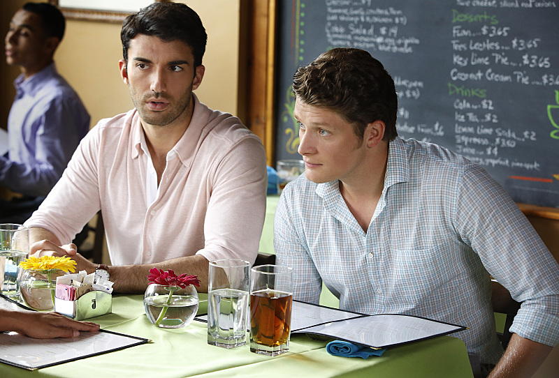 """Jane The Virgin -- """"Chapter Twenty-Four"""" -- Image Number: JAV202a_0115.jpg -- Pictured (L-R): Justin Baldoni as Rafael and Brett Dier as Michael -- Photo: Greg Gayne/The CW -- © 2015 The CW Network, LLC. All rights reserved."""