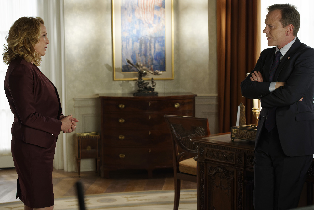 """DESIGNATED SURVIVOR - """"The Mission"""" - Realizing his attempts at diplomacy with Algeria have failed, President Kirkman makes the difficult decision of sending Navy SEALs on a mission that will define his presidency. Meanwhile, as the investigation into the Capitol bombing continues, Agent Hannah Wells discovers more secrets than answers, on ABC's """"Designated Survivor,"""" WEDNESDAY, OCTOBER 26 (10:00-11:00 p.m. EDT). (ABC/Ben Mark Holzberg) VIRGINIA MADSEN, KIEFER SUTHERLAND"""