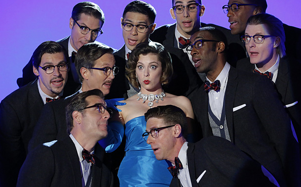 "Crazy Ex-Girlfriend -- ""All Signs Point To Josh--¦Or is It Josh's Friend?"" -- Image Number: CEG203b_0238.jpg -- Pictured (center): Rachel Bloom as Rebecca -- Photo: Robert Voets/The CW -- В©2016 The CW Network, LLC. All Rights Reserved."