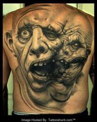 weird face zombie tattoo