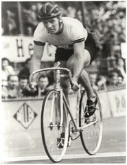 black and white photo of cyclist