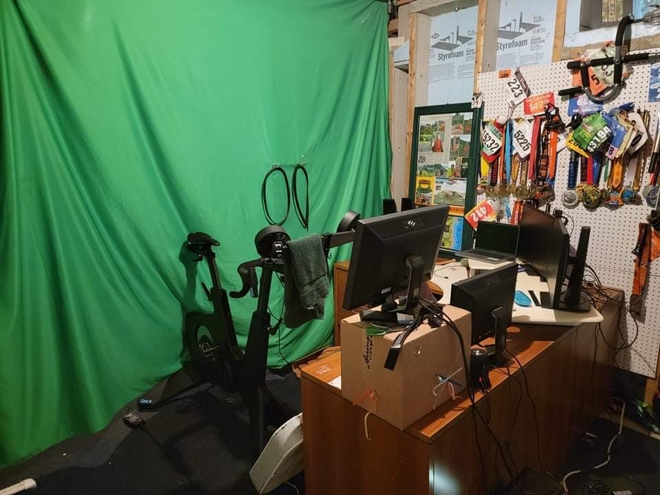 Stationary bike in front of green screen