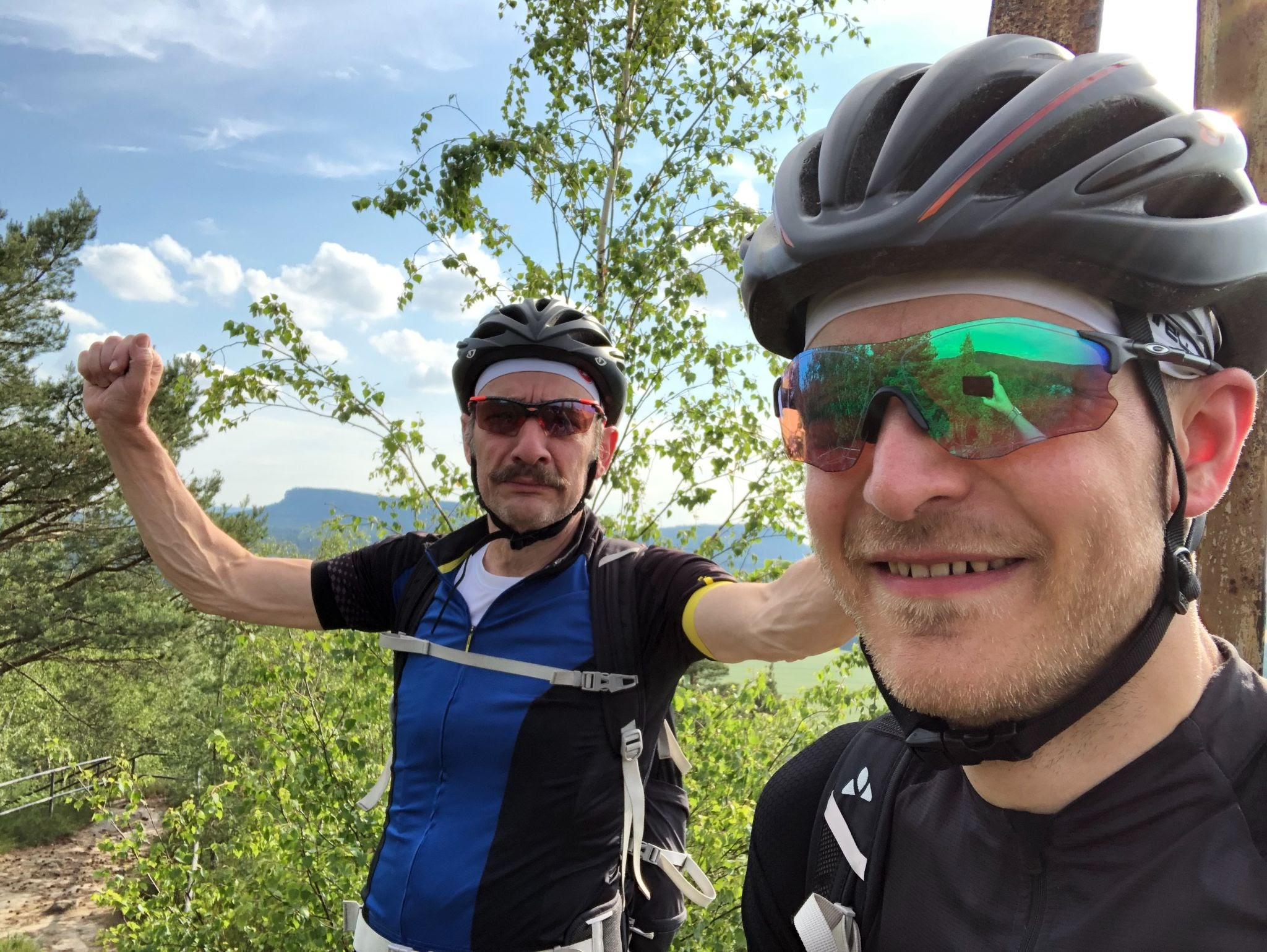 Falk with friend during a bike ride