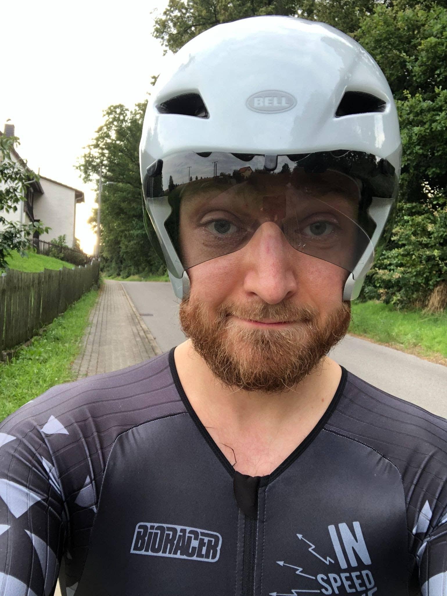 Cyclist with helmet