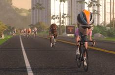 virtual cycling avatar with big head riding towards camera