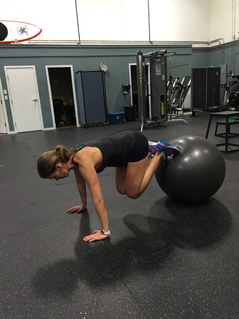 Cyclists using a ball to strengthen core