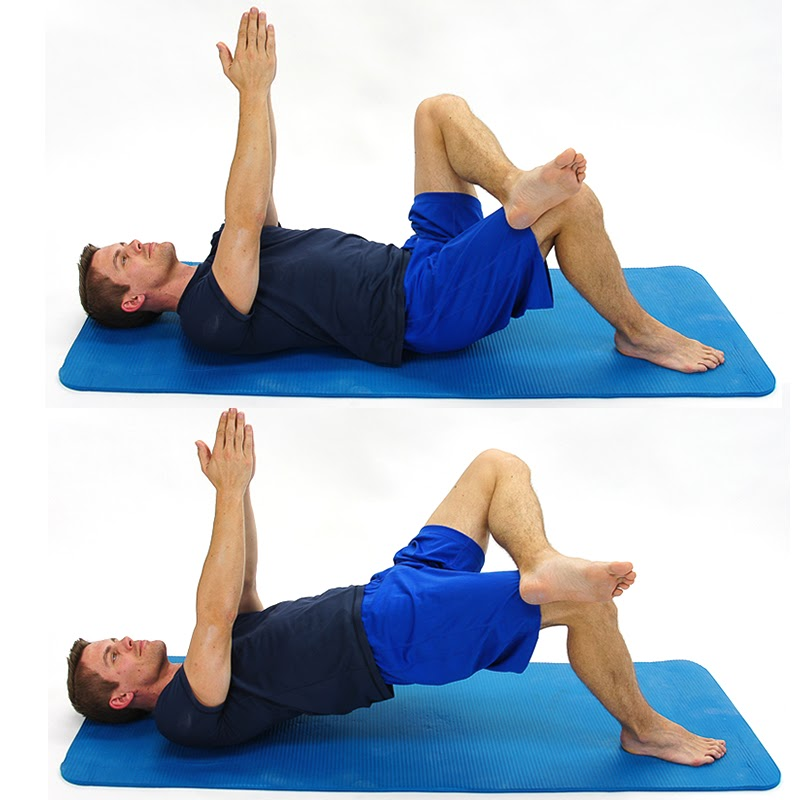 bridge with crossed leg and arms up