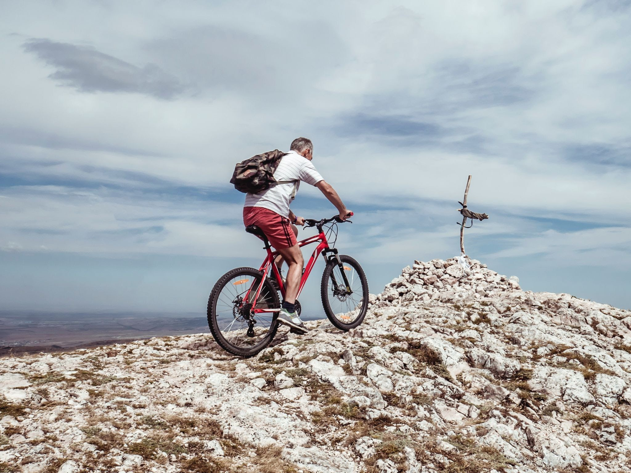 cycling cool down on mountain bike in snow