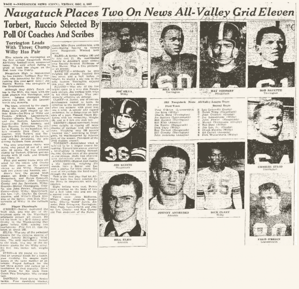 The first All-NVL football team, as it appeared in the Dec. 7, 1952, edition of the Naugatuck Daily News.
