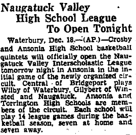 An Associated Press brief from Dec. 19, 1930, that announces the first night of Naugatuck Valley League play.