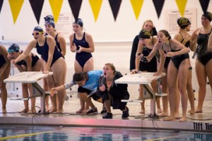 BEACON FALLS, CT- 22 September 2015-092215EC07- Swimmers from Woodland and Oxford cheer for their teammates during the 100 breastroke Tuesday. Erin Covey Republican-American
