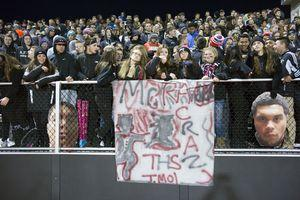 Torrington, CT- 12 October 2015-102315CM10- Torrington fans show their support for their football players during their NVL matchup against Ansonia on Friday night. Christopher Massa Republican-American