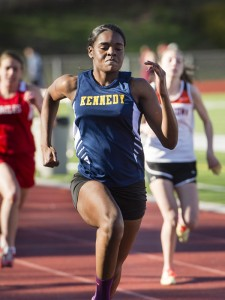 Kennedy's Roshica Dehaney wins the 100 meter dash in a time of 13.35 at Watertown Tuesday. Erin Covey Republican-American