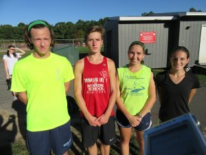 Pomperaug cross country captains (l-r): Mason Fitzpatick, Michael Schenk, Kim Theleen, Emma Cavanagh