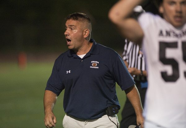Ansonia head coach Tom Brockett was mostly pleased with his team's season-opening win against Wolcott. (Jim Shannon/RA)