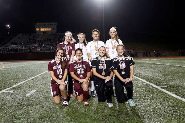 Naugatuck, CT- 03 November 2016-110316CM15- The girls NVL Iron Division all stars: Front row, left to right: Cassie Fedor, Alexis Tyrrell, Torrington; Hailey Boris, Jenna Pannone, Woodland; Back row: Erin Doris, Naugatuck; Gabby Traver, Isabella Orsini, Ashley Gugliotti, Watertown. Christopher Massa Republican-American (Christopher Massa/Republican-American)