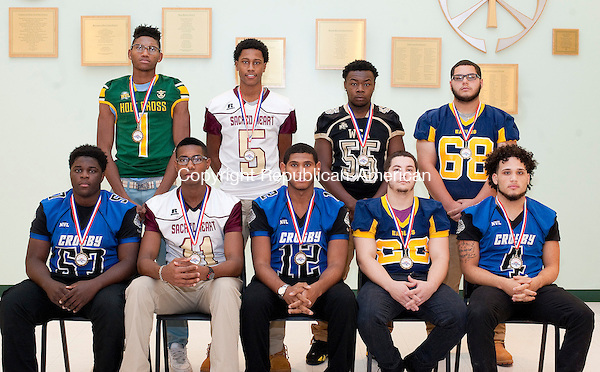 WATERBURY, CT-121216JS12 --Members of the All-Brass Division Football Team (Offense).. Front row, from left, Bernardo Mbaya-Crosby; Trey Dawson-Sacred Heart; Make Marshall-Crosby; Jacob Colon-Kenney and Donte Detanto-Crosby. Back row, from left, DeAndre Wallace-Holy Cross; Courie Stevenson-Sacred Heart;-Sacred Heart; Mike Shannon-SCA and Marc Soto-Kennedy. Jim Shannon Republican American (Jim Shannon)