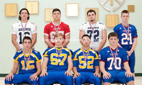 WATERBURY, CT-121216JS16 --Members of the All-Copper Division Football Team (Offense).. Front row, from left, Jake LaRovera-Seymour; Pete Sampieri -Seymour; Adam Iacomacci-sSeymour and Eric Langland-St. Paul. Back row, from left, Bryson Cafaro-Ansonia; Anthony Slowick-Derby; Joseph DeClucis-Ansonia and Damien Rabis-St. Paul. Missing is St. Paul's Pierce Piana Jim Shannon Republican American (Jim Shannon)