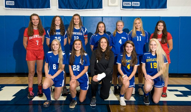 Members of the All-Berkshire League girls soccer team, front row, from left, Amber Marino-Litchfield; Christina Orsini-Litchfield; Gina Weingart-Northwestern; Josie Horosky-Housatonic and Emily Geyselaers-Housatonic. Back row, from left, Emma Propfe-Northwestern; Azria Malloy-Nonnewaug; Mary Bibbey-Nonnewaug; Hannah Anderson-Lewis Mills; Morgan Sokol-Lewis Mills, Chloe Waldron-Lewis Mills and Addie Hester-Northwestern. Missing is Alyssa Wrabel-Lewis Mills. Jim Shannon Republican-American