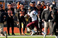 WATERTOWN, CT-112317JS10- Torrington's Dylan Myrie (8) runs down the sideline for a big gain and a first down during their Thanksgiving Day game against Watertown Thursday at Watertown High School. Jim Shannon Republican-American