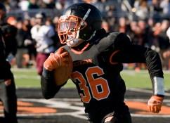 WATERTOWN, CT-112317JS17- Adam Alenckis (36) runs for a 41-yard touchdown during their Thanksgiving Day game against Torrington Thursday at Watertown High School. Jim Shannon Republican-American