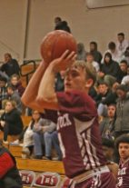 Naugatuck's Jesse Lanci puts up a shot during NVL basketball action Tuesday night at Torrington High School. Naugatuck defeated Torrington 49-46. Michael Kabelka / Republican-American