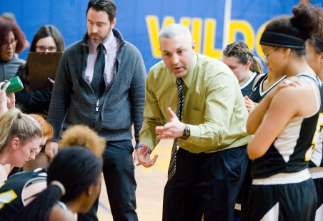Kaynor Tech head coach Brian Stasaitis talks with his players during a time out in their game against Wolcott Tech Thursday at Wolcott Tech school in Torrington. Jim Shannon Republican-American
