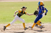 WATERBURY, CT-042118JS19- Seymour's Molly Kennedy (9) safely steals second as the throw to Holy Cross' Allie Brown (1) was off the mark during their game Saturday at Holy Cross High School. Jim Shannon Republican American