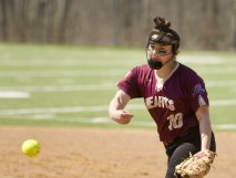 WATERBURY, CT-042818JS15- Sacred Heart's Madison Gendron (10) delivers a pitch during their game against Kennedy Saturday at Kennedy High School. Jim Shannon Republican American