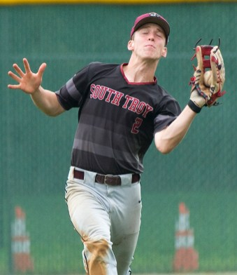 South Troy's (2) makes a running catch in the outfield during their Mickey Mantle World Series game against Foutch of Flint Township (MI) Wednesday at Municipal Stadium in Waterbury. Jim Shannon Republican American