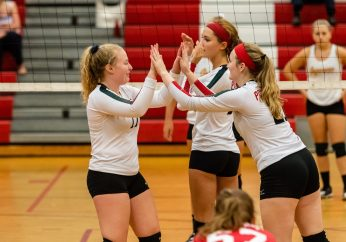 Pomperaug hosts Seymour in a girls volleyball scrimmage at Pomperaug High School in Southbury on Monday afternoon. Bill Shettle Republican-American
