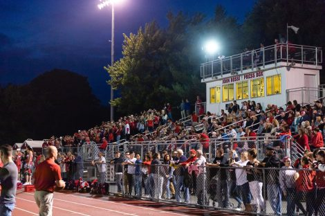 Wolcott fans turn out for Friday Night Football during the NVL Football game between Naugatuck and Wolcott at Wolcott High School in Wolcott on Friday. Bill Shettle Republican-American